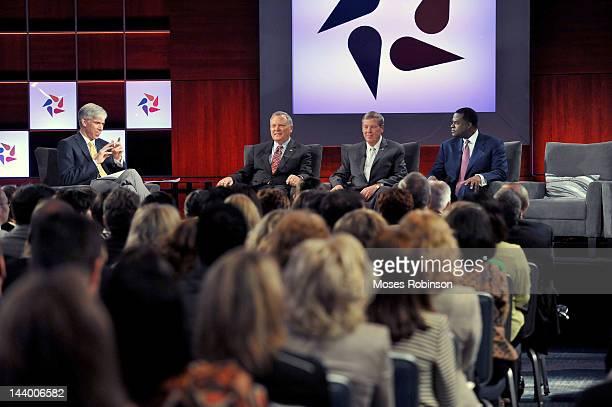 NBC's Meet the Press Host David Gregory Georgia Governor Nathan Deal US Senator Johnny Isakson and Atlanta Mayor Kasim Reed attend NBC News Education...