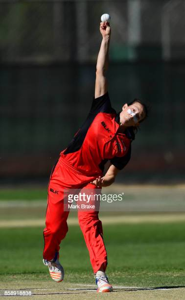 SA's Megan Schutt opening the bowling during the WNCL match between South Australia and Tasmania at Adelaide Oval No2 on October 8 2017 in Adelaide...