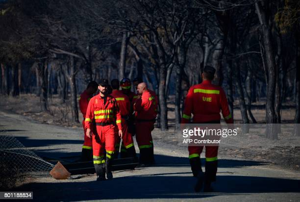 UME 's members walk on a road crossing a charred forest after a wildfire in Mazagon near the Donana National Park on June 26 2017 More than 1500...