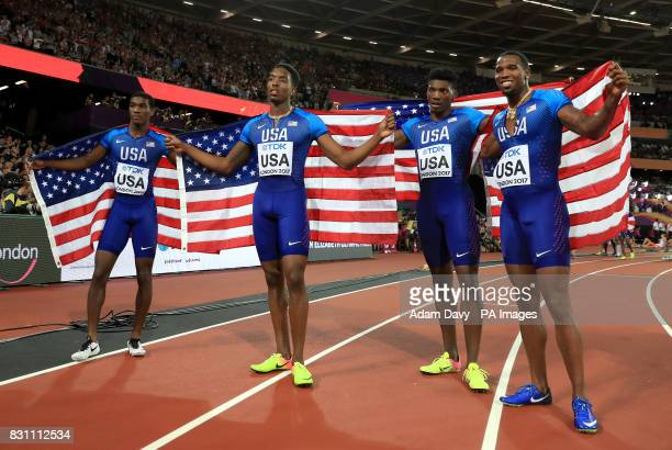 USA's Men's 4x400m relay final team Wilbert London III Michael Cherry Fred Kerley and Gil Roberts celebrate winning silver during day ten of the 2017...