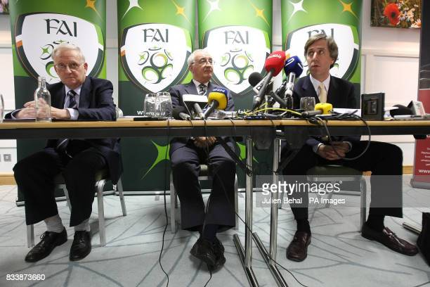 FAI's Michael Coady David Blood and John Delaney during a press conference at the Crowne Plaza Hotel near Dublin Airport Ireland