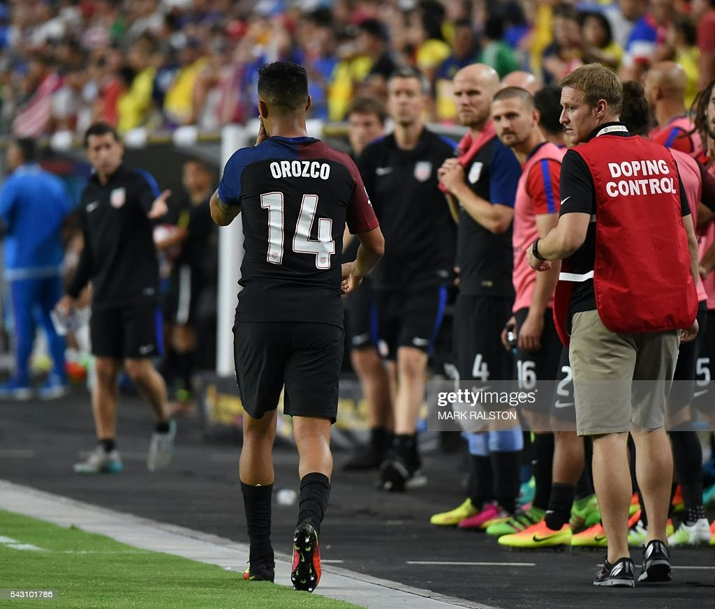 USA's Michael Orozco leave safter getting a red card during the Copa America Centenario third place football match against Colombia in Glendale, Arizona, United States, on June 25, 2016. / AFP / Mark RALSTON