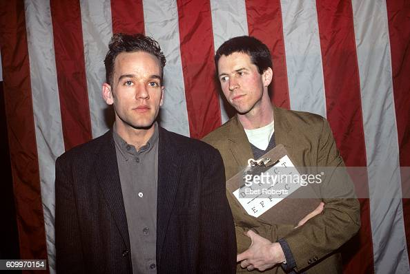 REM's Michael Stipe and filmaker Jim McKay at a press conference promoting Direct Effect public service announcements at Anthology Film Archive in...