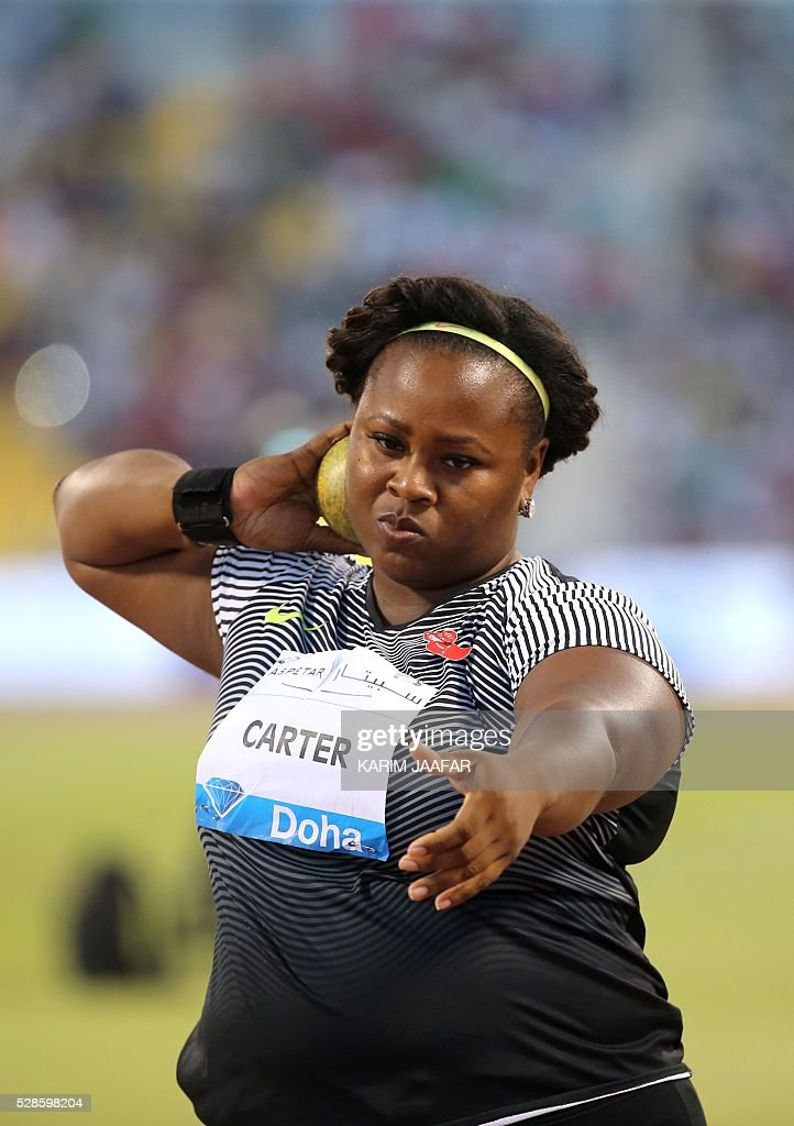 USA's Michelle Carter competes in the Shot Put at the Diamond League athletics competition at the Suhaim bin Hamad Stadium in Doha, on May 6, 2016. / AFP / KARIM
