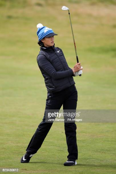 USA's Michelle Wie plays her second shot on the first during day one of the Aberdeen Asset Management Ladies Scottish Open at Dundonald Links North...