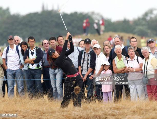 USA's Michelle Wie plays out of the rough on the 3rd fairway during the third round of the Weetabix Women's British Open at Royal Lytham and St Annes...