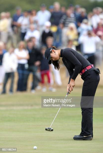 USA's Michelle Wie putts on the 4th green during the third round of the Weetabix Women's British Open at Royal Lytham and St Annes Lancashire