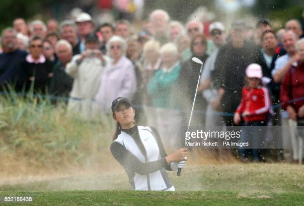 USA's Michellle Wie plays out of a bunker on the 14th green during the second round of the Weetabix Women's British Open at Royal Lytham and St Annes...