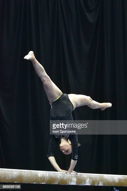 UCLA's Mikaela Gerber performs on the balance beam during the finals of the NCAA Women's Gymnastics National Championship on April 15 at Chaifetz...