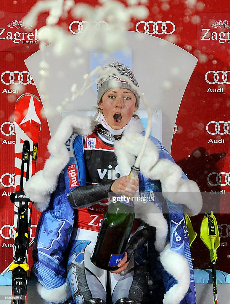 USA's Mikaela Shiffrin celebrates on the podium after winning the FIS World Cup women's slalom in Sljeme, near Zagreb, on January 4, 2013. AFP PHOTO