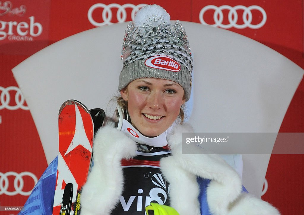 USA's Mikaela Shiffrin poses on the podium after winning the FIS World Cup women's slalom in Sljeme, near Zagreb, on January 4, 2013.