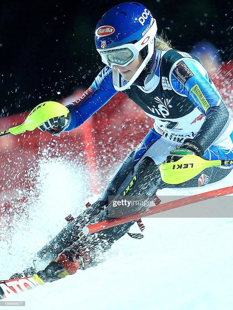 USA's Mikaela Shiffrin scompetes to win the FIS World Cup women's slalom in Sljeme, near Zagreb, on January 4, 2013.