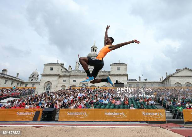 USA's Mike Hartfield during the Men's Long Jump during the London Anniversary Games at Horse Guards Parade London