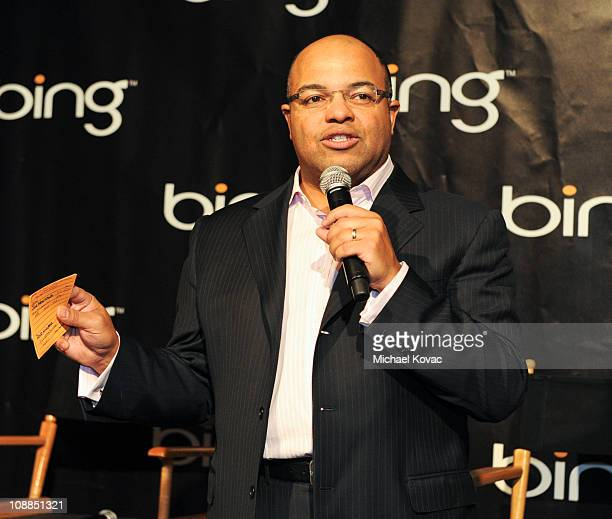 ESPN's Mike Tirico moderates the Bing World Champion Quarterback Panel at the ESPN NEXT Experience on February 5 2011 in Dallas Texas