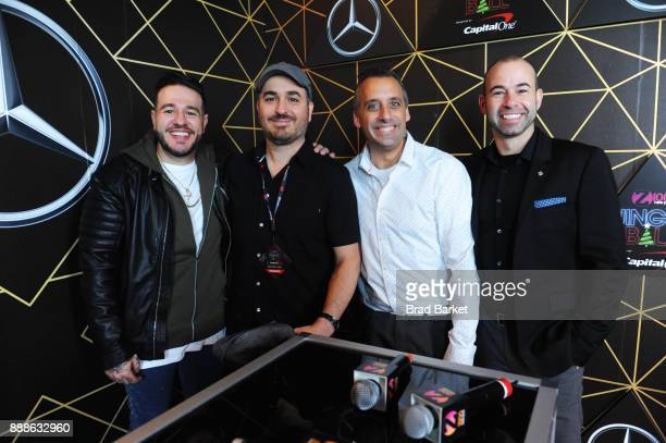 Z100's Mo' Bounce poses with Brian 'Q' Quinn Joe Gatto and James 'Murr' Murray of Impractical Jokers at the Z100's Jingle Ball 2017 press room on...