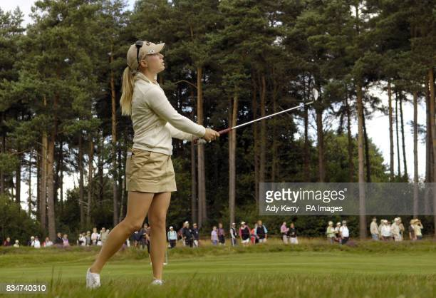 USA's Morgan Pressel watches her approach to the 14th during Round Two of the Ricoh Women's British Open at Sunningdale Golf Club Berkshire