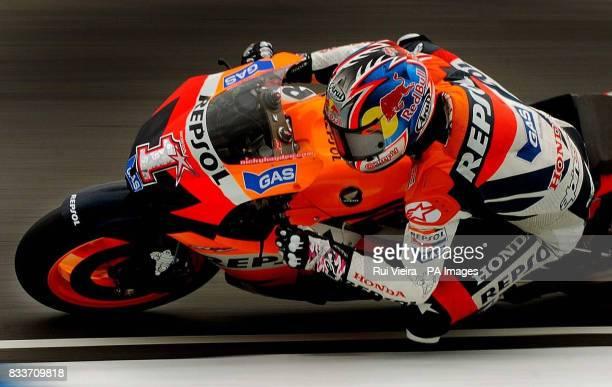 USA's Moto GP Honda rider Nicky Hayden during a practice session at Donington Park Castle Donington