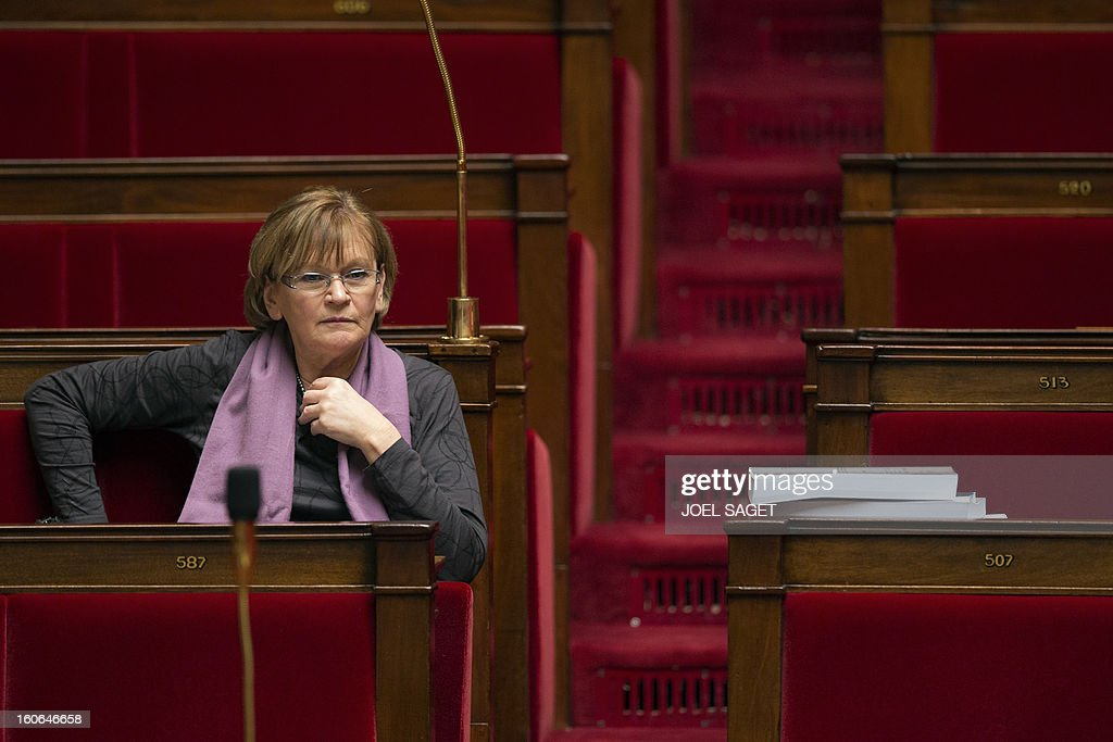 PCF (French Communist Party)'s MP Marie-George Buffet takes part in the debate to allow gay couples to get married and adopt children on February 4, 2013 at the National Assembly in Paris. Two days before, Members of Parliament voted 249-97 in favour of Article One of the draft law, which redefines marriage as being a contract between two people rather than necessarily between a man and a woman.