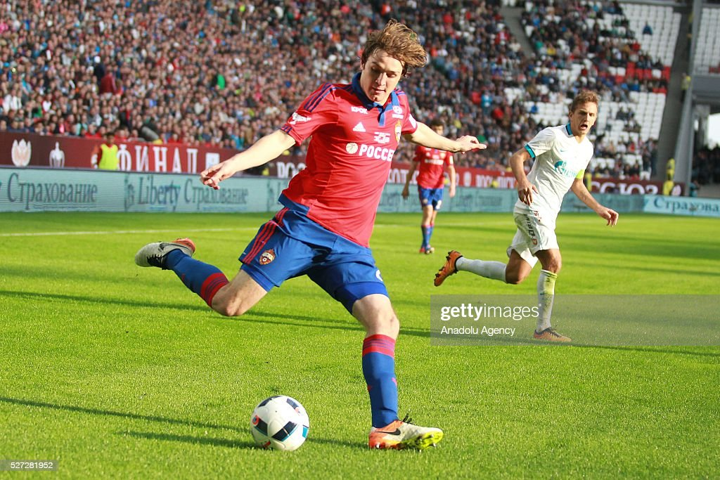 CSKA's M��rio Figueira Fernandes (L) and Zenit's Domenico Criscito (R) fight for the ball during Russian Cup final match between CSKA Moscow vs Zenit St. Petersburg at Kazan Arena in Kazan, Russia on May 02, 2016.