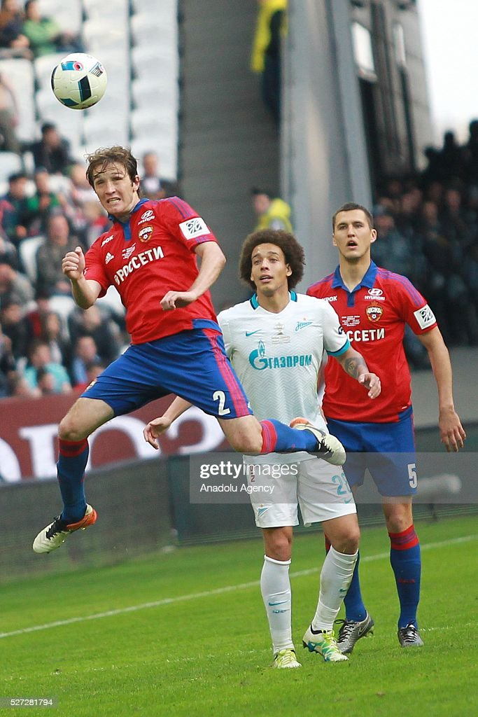 CSKA's M��rio Figueira Fernandes, Zenit's Axel Witsel and CSKA's Viktor Vasin fight for the ball during Russian Cup final match between CSKA Moscow vs Zenit St. Petersburg at Kazan Arena in Kazan, Russia on May 02, 2016.