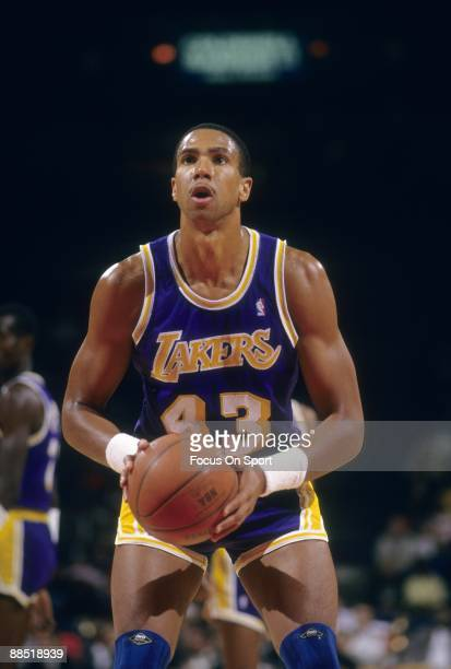 BALTIMORE MD CIRCA 1980's Mychal Thompson of the Los Angeles Lakers in action set to shoot a free throw against the Washington Bullets during a late...