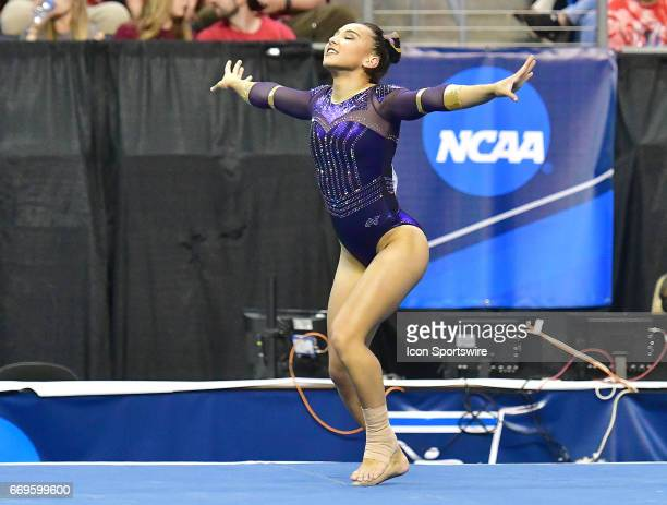 LSU's Myia Hambrick during her floor exercise routine during the finals of the NCAA Women's Gymnastics National Championship on April 15 at Chaifetz...