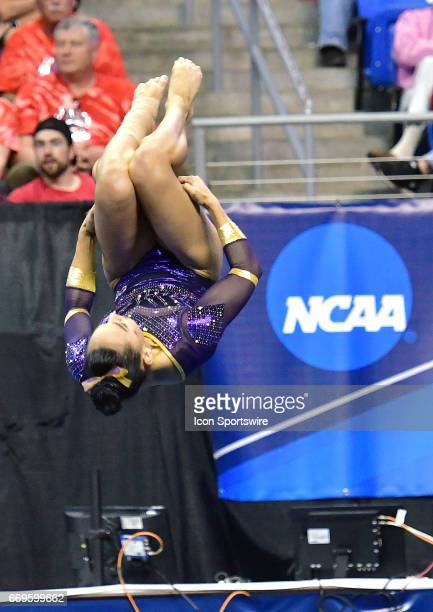 LSU's Myia Hambrick tumbles during her floor exercise routine during the finals of the NCAA Women's Gymnastics National Championship on April 15 at...