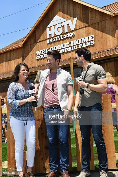 GAC's Nan Kelley interviews the Property Brothers Jonathan Scott and Drew Scott at the HGTV Lodge during CMA Music Fest on June 11 2016 in Nashville...