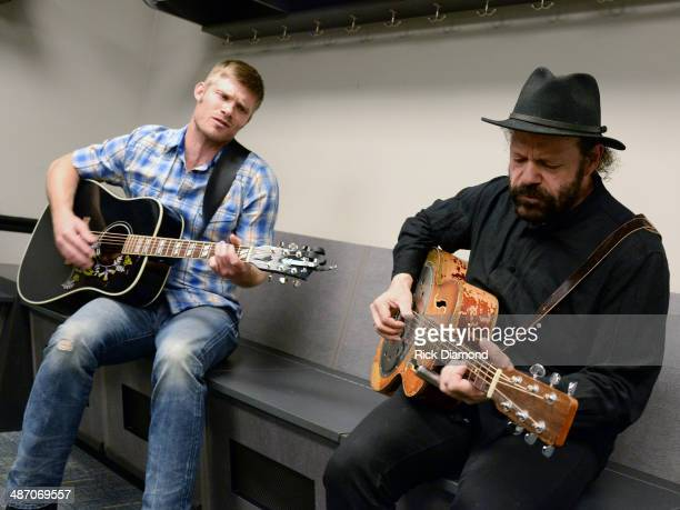 TV's Nashville cast member Chris Carmack and Recording Artist Colin Linden backstage at St Jude Country Music Marathon Half Marathon Presented By...