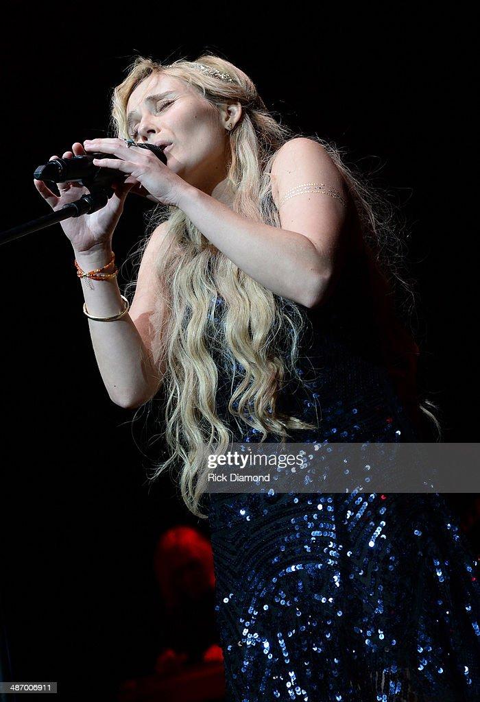 TV's Nashville cast member Clare Bowen performs at St Jude Country Music Marathon Half Marathon Presented By Nissan Post Race Concert on April 26...