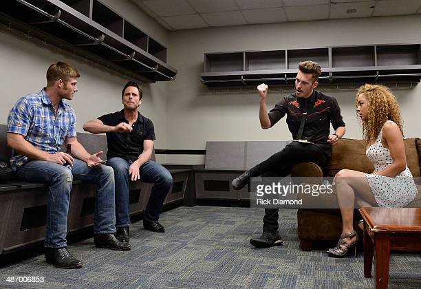 TV's Nashville cast members Chris Carmack Charles Esten Sam Palladio and Chaley Rose during rehearsal backstage at the St Jude Country Music Marathon...