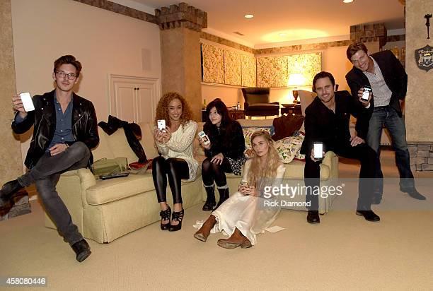 ABC's Nashville cast members L/R Sam Palladio Chaley Rose Aubrey Peeples Clare Bowen Charles Esten and Chris Carmack Tweet during esposide 6 Season 3...
