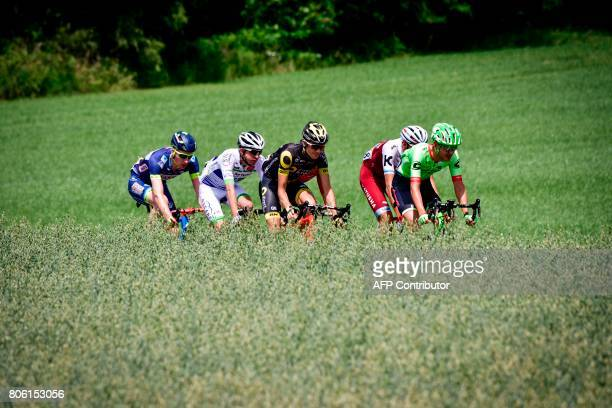 USA's Nathan Brown Germany's Nils Politt France's Romain Sicard France's Romain Hardy and Belgium's Frederik Backaert ride in a breakaway during the...