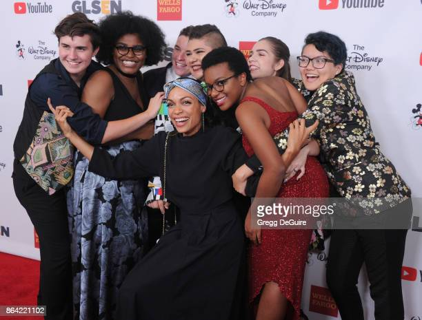 GLSEN's National Student Council members pose with Rosario Dawson at the 2017 GLSEN Respect Awards at the Beverly Wilshire Four Seasons Hotel on...