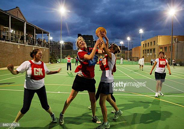 CJ's netball team in action during their match at the Melbourne High netball courts 7 February 2007 THE AGE NEWS Picture by PAUL ROVERE