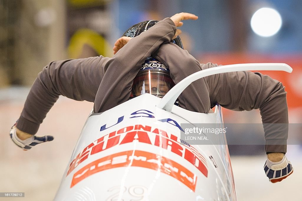 USA's Nick Cunningham takes part in a Men's Bobsleigh training run at the Sanki Sliding Centre, one of the 2014 Winter Olympics venues, at Rzhanaya Polyana, 60 km northeast of the Black Sea city of Sochi, on February 14, 2013. With a year to go until the Sochi 2014 Winter Games, construction work continues as tests events and World Championship competitions are underway.