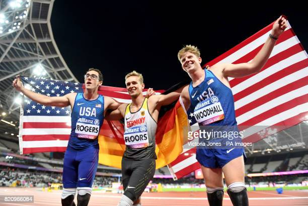 USA's Nick Rogers Germany's Johannes Floors and USA's Hunter Woodhall the Men's 200m T43 during day nine of the 2017 World Para Athletics...