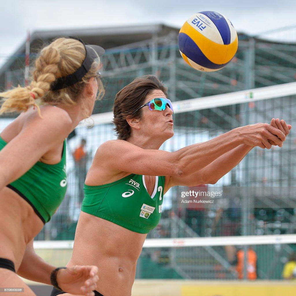 USA's Nicole Branagh hitting towards Kerri Walsh Jennings during FIVB Grand Tour - Olsztyn: Day 4 on July 22, 2017 in Olsztyn, Poland.