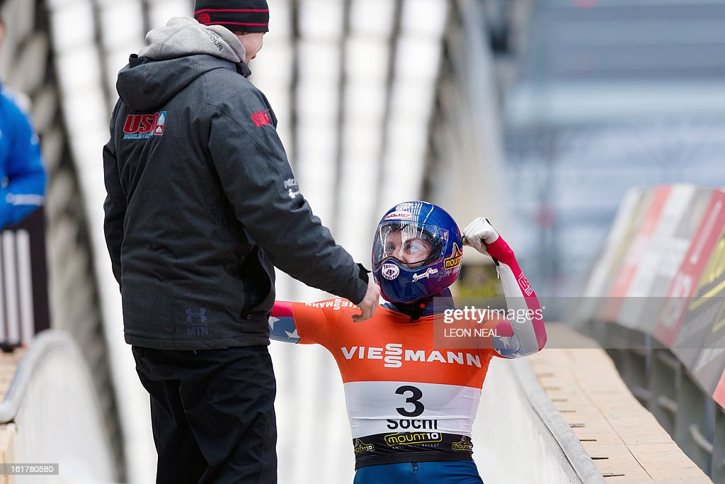 USA's Noelle Pikus-Pace celebrates after taking the first place in the Women's Skeleton competition in the FIBT Bob & Skeleton World Cup at the Sanki Sliding Centre, some 50 km from Russia's Black Sea resort of Sochi, on February 16, 2013. With a year to go until the Sochi 2014 Winter Games, construction work continues as tests events and World Championship competitions are underway.