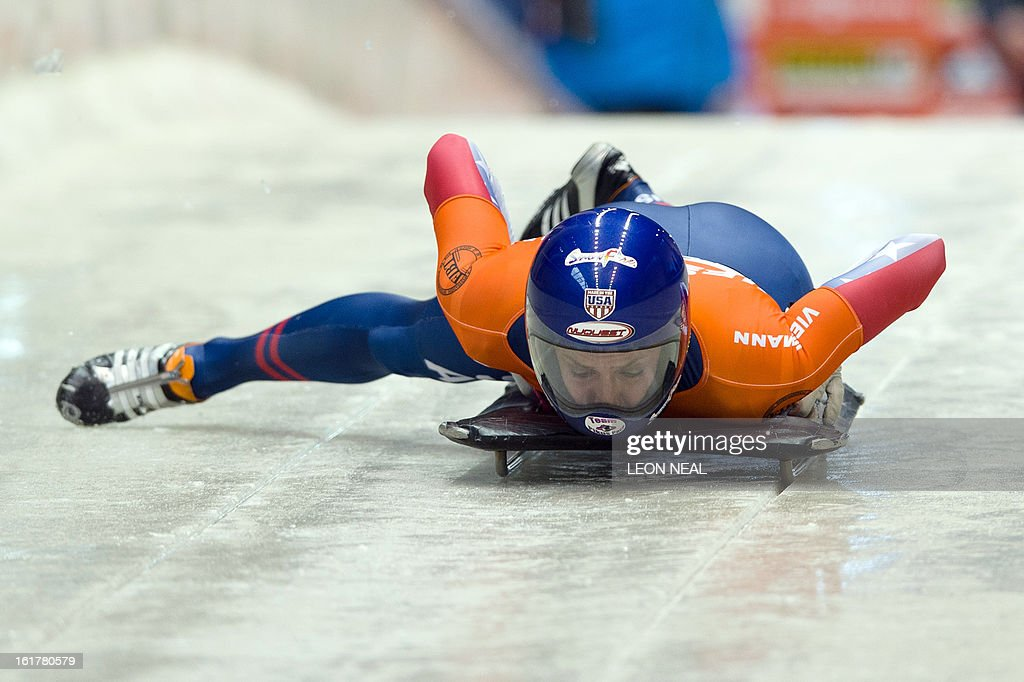 USA's Noelle Pikus-Pace takes part in the first run before going on to take the first place in the Women's Skeleton competition in the FIBT Bob & Skeleton World Cup at the Sanki Sliding Centre, some 50 km from Russia's Black Sea resort of Sochi, on February 16, 2013. With a year to go until the Sochi 2014 Winter Games, construction work continues as tests events and World Championship competitions are underway.