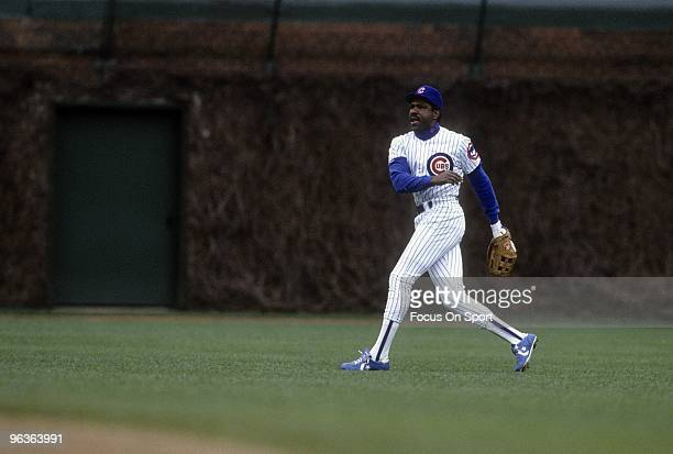 CHICAGO IL CIRCA 1980's Outfielder Andre Dawson of the Chicago Cubs in action in right field during a late circa 1980's Major League Baseball game at...