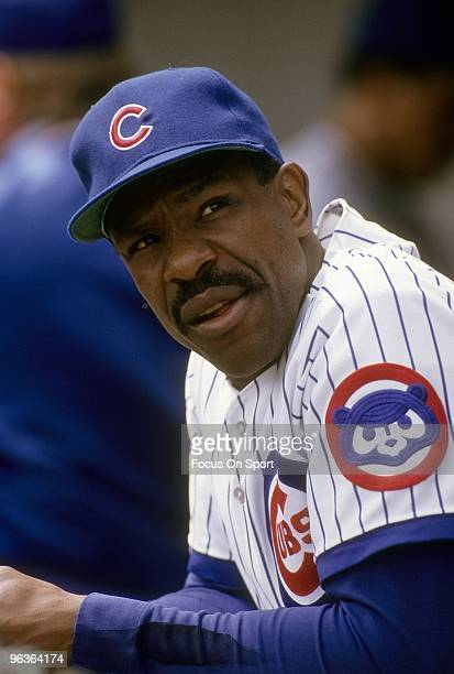 CHICAGO IL CIRCA 1980's Outfielder Andre Dawson of the Chicago Cubs in the dougout prior to the start of a late circa 1980's Major League Baseball...