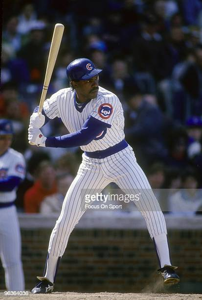CHICAGO IL CIRCA 1980's Outfielder Andre Dawson of the Chicago Cubs stands at the plate waiting on the pitch during a late circa 1980's Major League...