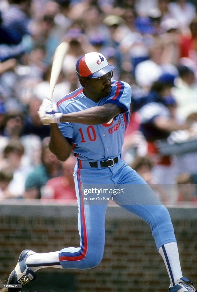 CHICAGO, IL - CIRCA 1980's: Outfielder <a gi-track='captionPersonalityLinkClicked' href=/galleries/search?phrase=Andre+Dawson&family=editorial&specificpeople=206316 ng-click='$event.stopPropagation()'>Andre Dawson</a> #10 of the Montreal Expos is ready to swing at a pitchl against the Chicago Cubs during a mid circa 1980's Major League Baseball game at Wrigley Field in Chicago, Illinois. Dawson played for the Expos from 1976-86.