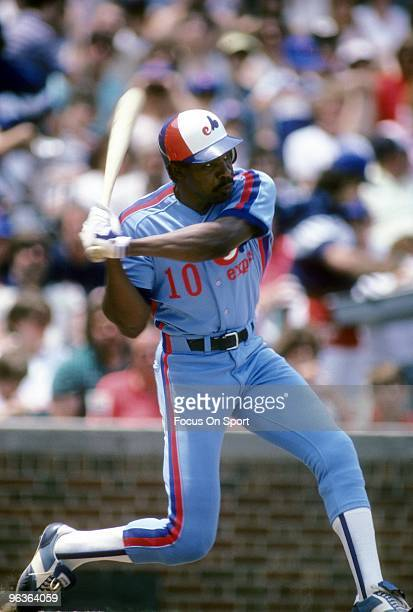 CHICAGO IL CIRCA 1980's Outfielder Andre Dawson of the Montreal Expos is ready to swing at a pitchl against the Chicago Cubs during a mid circa...
