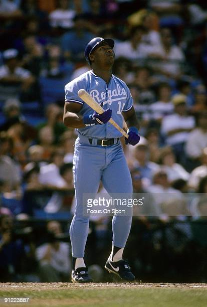 CIRCA 1980's Outfielder Bo Jackson of the Kansas City Royals watches the flight of his ball as he's coming out of the batters box during a Major...