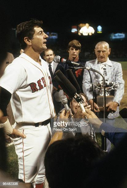 BOSTON MA CIRCA 1980's Outfielder Carl Yastrzemski of the Boston Red Sox on a night he's being honored talks with the media before a MLB baseball...