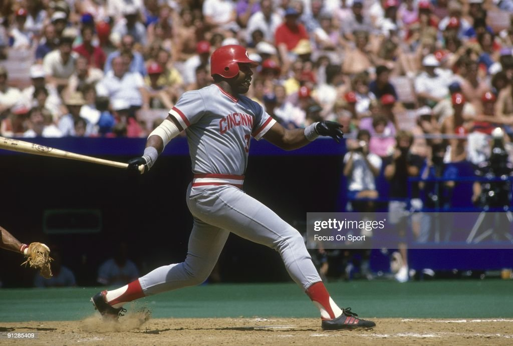 CIRCA 1980's Outfielder Dave Parker of the Cincinnati Red swings and watches the flight of his ball during a circa mid 1980's Major League Baseball...