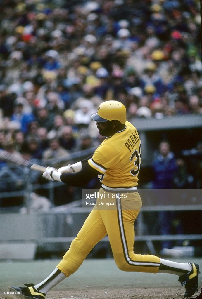PITTSBURGH PA CIRCA 1970's Outfielder Dave Parker of the Pittsburgh Pirates swings and watches the flight of his ball during a circa 1970's Major...
