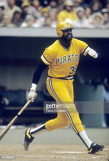 PITTSBURGH PA CIRCA 1970's Outfielder Dave Parker of the Pittsburgh Pirates swings at a pitch during a circa 1970's Major League Baseball game at...